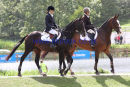 Left to Right - Laura Shears (Kings Fancy) & Louise Skelton (Mr Potts) on their way to the show jumping