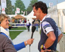 Mark Todd being interviewed by Clare Balding for the BBC