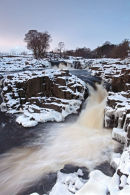 01D-8343 The River Tees Flowing Over the Low Force Waterfalls in Winter, Upper Teesdale, County Durham