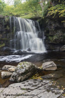 01M-4510 Catrake Force Upper Falls in Autumn Swaledale Yorkshire Dales UK