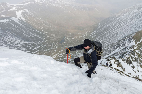 01M-9185 Exiting Swrirral Edge Helvellyn Lake District Cumbria UK