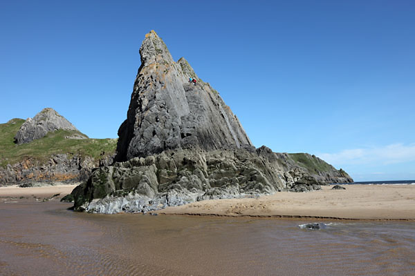 04D-8250 Rock Pinnacle Three Cliffs Bay Gower Peninsular South Wales UK