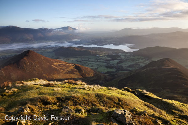 05D-8965 Derwent Water From the Summit of Causey Pike in Early Morning Light Lake District Cumbria UK.