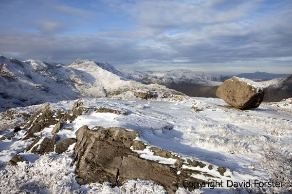 05D-9704 Winter Snow on Crinkle Crags and Bowfell Viewed from Pike of Blisco Lake District Cumbria England UK