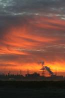 06-1914 A Fiery Sunset over the Industrial Landscape of Teesside, North East Coast of England