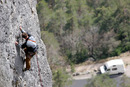 06-3247 Rock Climber on the Cliffs of the Gorge de la Jonte, Cevennes National Park, France