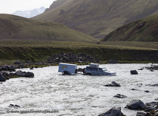 06D-0888 TEMP Vehicle Crossing Kaldaklofskvisl River Iceland