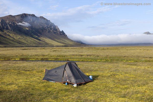 06D-0953 Tent at Alftavatn with the Mountain of Bratthals Behind Laugavegur Hiking Trail Iceland.