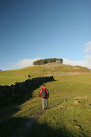 07-0743 Hill Walker and the Ancient Burial Mound of Kirkcarrion, Teesdale County Durham