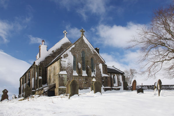 09-0608 The Church of St James the Less in Winter Snow Forest in Teesdale County Durham