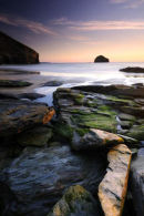 Trebarwith Strand at sunset I - North Cornwall