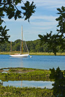A classic yacht on the Beaulieu River