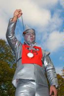 Man dressed as the Tin Man from the film Wizard of OZ playing conkers at the World Conker Championships