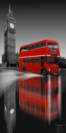 Red Bus Big Ben Reflection