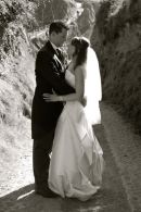 Wedding couple at La Coupee, Sark