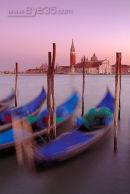 Gondolas moored in St Marks basin, Venice