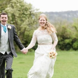 Chinnor Risborough Lambert Arms Bucks Wedding Photography Bride Groom Running