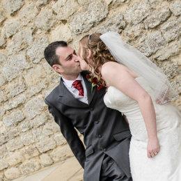 Notley Tythe Barn Long Crendon 09 Bride Groom Sitting Wall
